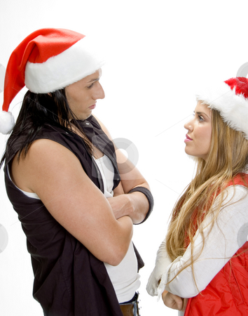 Male and female looking each other stock photo, Side view of male and female looking each other by Imagery Majestic