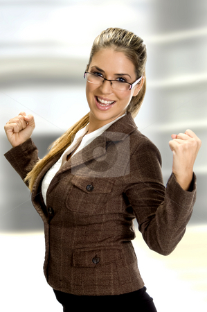 Happy smiling woman stock photo, Woman smiling and enjoying in happiness of success on an abstract background by Imagery Majestic