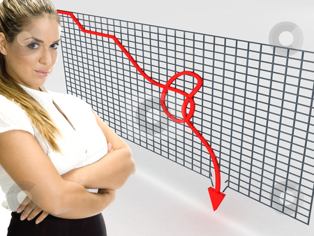 Three dimensional graph showing loss and businesswoman stock photo, Side view of three dimentional graph showing loss with businesswoman by Imagery Majestic