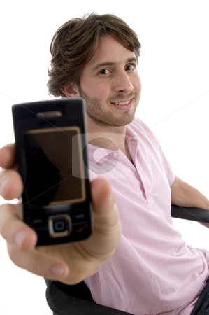 Smiling man showing mobile stock photo, Smiling man showing mobile against white background by Imagery Majestic