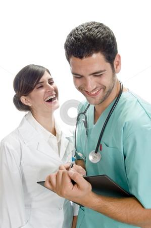 Laughing medical professionals stock photo, Laughing medical professionals with white background by Imagery Majestic