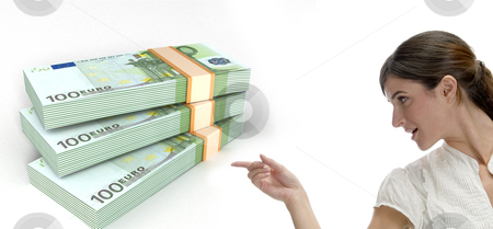 Business woman pointing at three dimensional bundles of europian currency  stock photo, Business woman pointing at three dimensional bundles of europian currency on an isolated white background by Imagery Majestic