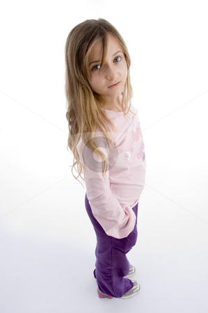 Side pose of little girl stock photo, Side pose of little girl on an isolated background by Imagery Majestic