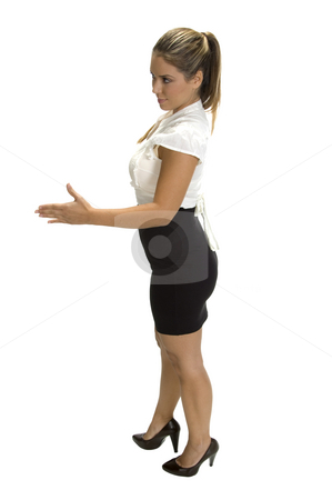 Businesswoman ready to hand shake stock photo, Businesswoman ready to hand shake, side view by Imagery Majestic