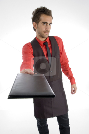 Male showing folder stock photo, Male showing folder on an isolated background by Imagery Majestic