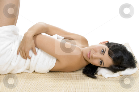 Laying female looking at camera stock photo, Laying female looking at camera by Imagery Majestic