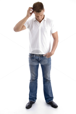 Man itching his head showing confusion stock photo, Man itching his head showing confusion on an isolated white background by Imagery Majestic