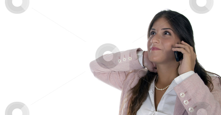 Young female holding cellphone stock photo, Young female holding cellphone with white background by Imagery Majestic
