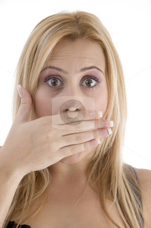 Shocked young woman stock photo, Shocked young woman on an isolated background by Imagery Majestic