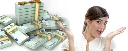Surprised business woman and  three dimensional bundles of europian currency stock photo, Surprised business woman and  three dimensional stacked  bundles of europian currency on an isolated white background by Imagery Majestic