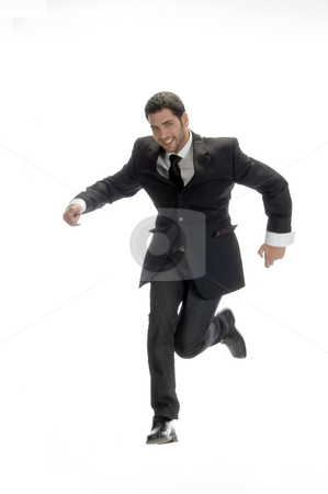 Smart businessman jumps up stock photo, Smart businessman jumps up on an isolated background by Imagery Majestic