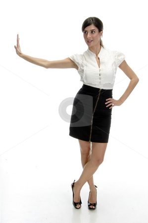 Posing sexy woman stock photo, Posing sexy woman on an isolated white background by Imagery Majestic