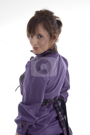 Back pose of smiling woman stock photo, Back pose of smiling woman on an isolated background by Imagery Majestic