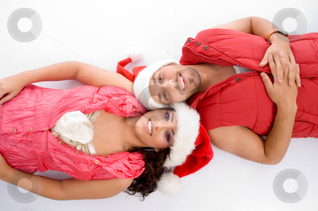 Laying brother and sister  stock photo, Laying brother and sister on an isolated background by Imagery Majestic