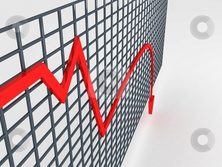 Decreasing graph stock photo, Side view of three dimentional decreasing graph by Imagery Majestic