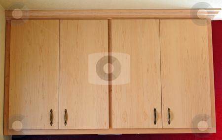 Two Custom Build Kitchen Light Wood Cabinets stock photo