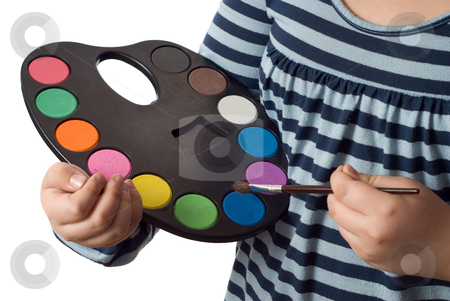 Paint Pallet stock photo, Closeup view of a young girl holding a paint pallet, isolated against a white background by Richard Nelson
