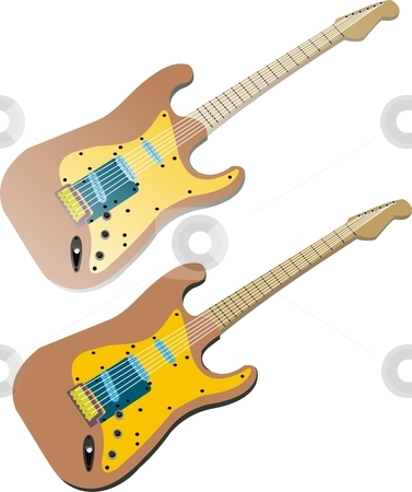 Guitar stock vector clipart, A simple guitar. 2 vectors of the same illustration. one is plain colored n other has a gloss look by Fowzan Ahmed