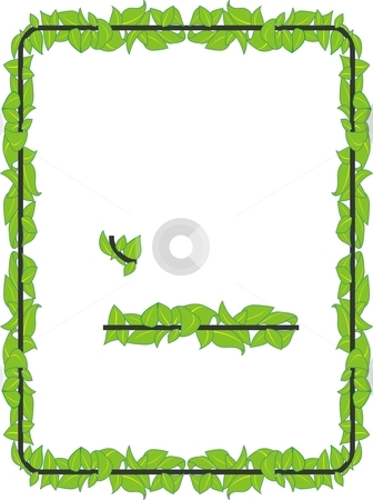 Leafy Border stock vector clipart, A beautiful border, having nature look. made of leaves. has a great look. can be made to fit any size by combining the parts. by Fowzan Ahmed
