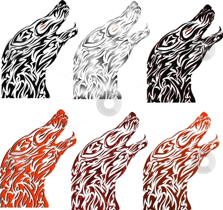 Wolf Tattoo stock vector clipart, Illustration is of a wolf howling. there are different looks of the same thing. the top left one is the orignal 1 n rest have some addons by Fowzan Ahmed