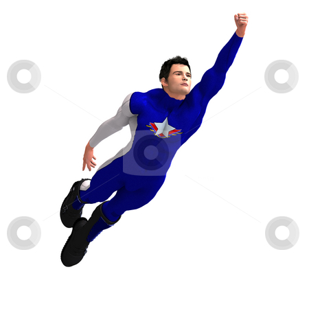 Blue Super Hero stock photo, Mighty Super Hero saving the world with Clipping Path by Ralf Kraft