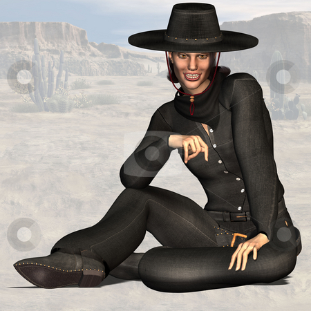 Cowgirl #07 stock photo, Wild West Series with Cowboys, Indians, Good and Bad GuysImage contains a Clipping Path / Cutting Path for the main object by Ralf Kraft