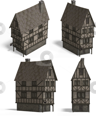 Medieval Houses - Tavern stock photo, Four Views of an old fashioned house over white by Ralf Kraft
