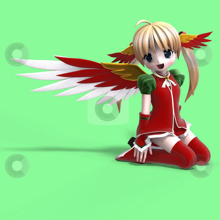 Cute manga angel in festive clothing. With Clipping Path stock photo, Cute manga angel in festive clothing. With Clipping Path by Ralf Kraft