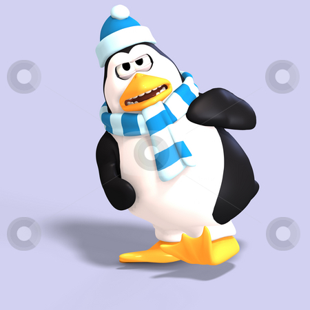 Male toon penguin  stock photo, Male toon enguin with hat and scraf and clipping path by Ralf Kraft