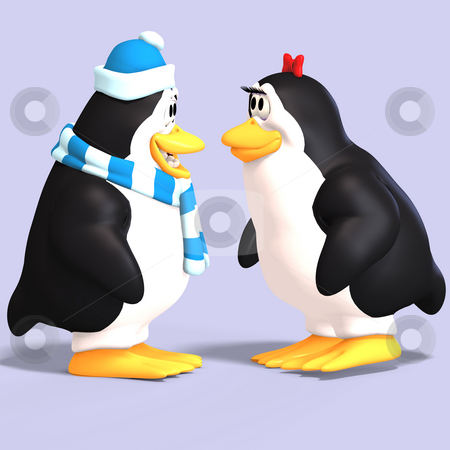 Penguin couple in love stock photo, Cute penguin couple in love with Clipping Path by Ralf Kraft