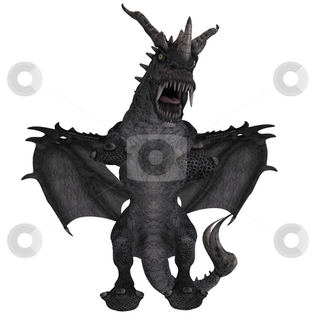 Great Fantasy Dragon stock photo, 3D Rendering of a huge Fantasy Dragon with Clipping Path by Ralf Kraft