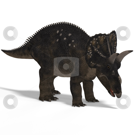 Dinosaur Diceratops stock photo, Dinosaur Diceratops With Clipping Path over white by Ralf Kraft