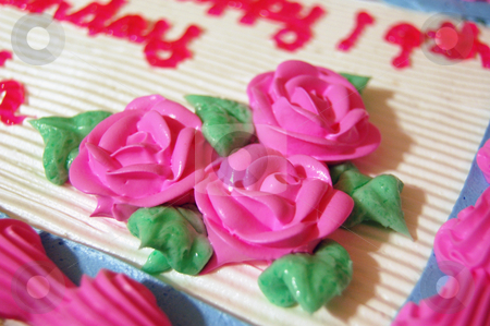 Birthday Cake Roses stock photo, A birthday cake with pink roses and pink lettering. by Crystal Srock