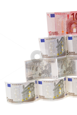 Money stock photo, Pyramid made of notes isolated on white background by Jolanta Dabrowska