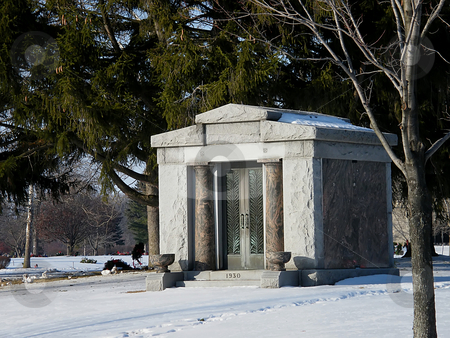 Marble and Stone Mausoleum  stock photo, Marble and Stone Mausoleum in Winter. by Dazz Lee Photography