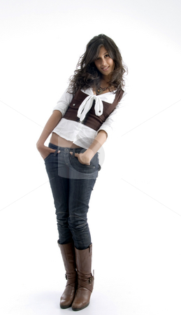 Full body pose of smart young female stock photo, Full body pose of smart young female against white background by Imagery Majestic