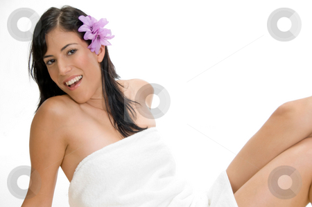 Happy young model with flower stock photo, Happy young model with flower by Imagery Majestic