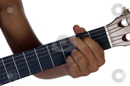 Hand of male playing guitar stock photo, Hand of male playing guitar on an isolated background by Imagery Majestic