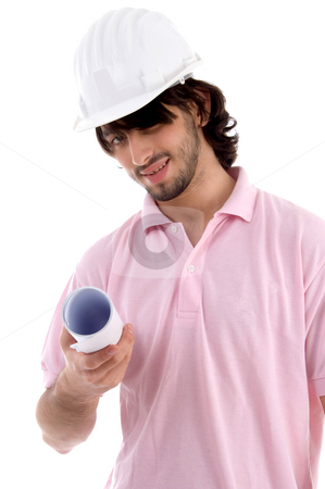Young architect showing blueprint stock photo, Young architect showing blueprint with white background by Imagery Majestic