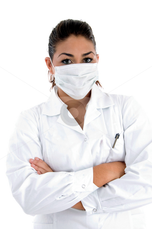 Doctor with mask on her mouth stock photo, Doctor with mask on her mouth on an isolated background by Imagery Majestic