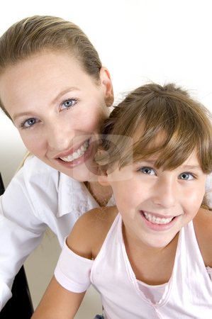 Happy mother and daughter stock photo, Portrait of happy mother and daughter by Imagery Majestic