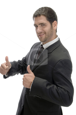 Businessman wishing good luck stock photo, Businessman wishing good luck on an isolated background by Imagery Majestic