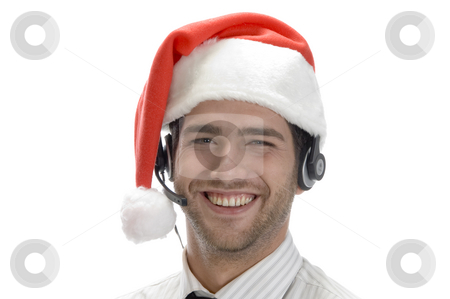 Happy businessman posing with headset stock photo, Happy businessman posing with headset isolated on white background by Imagery Majestic