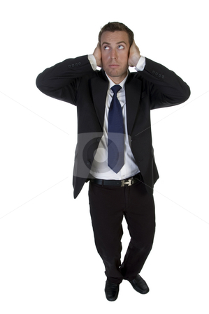 Full pose of businessman putting hands on his ears stock photo, Full pose of businessman putting hands on his ears with white background by Imagery Majestic