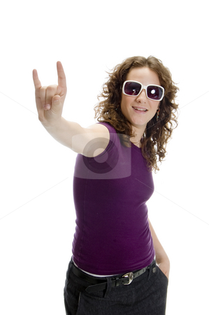 Young lady showing hand gesture stock photo, Young lady showing hand gesture on an isolated background by Imagery Majestic