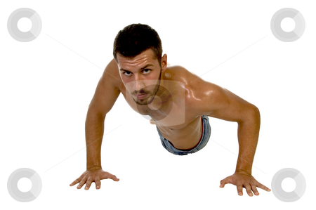 Male working out with side pose stock photo, Male working out with side pose with white background by Imagery Majestic