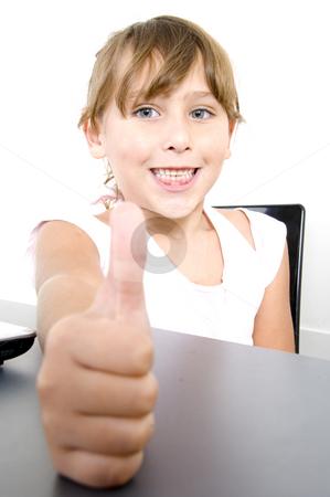 White girl wishing good luck stock photo, Happy smiling white girl wishing good luck by Imagery Majestic