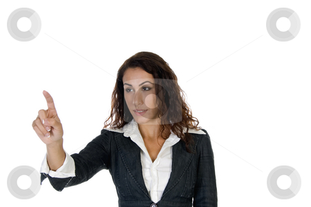 Lady pointing out something stock photo, Lady pointing out something against white background by Imagery Majestic