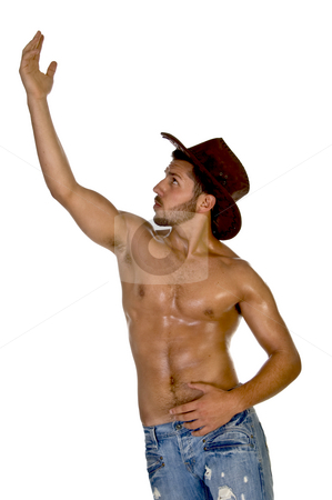 Smart guy posing with one hand up stock photo, Smart guy posing with one hand up  on an isolated background by Imagery Majestic