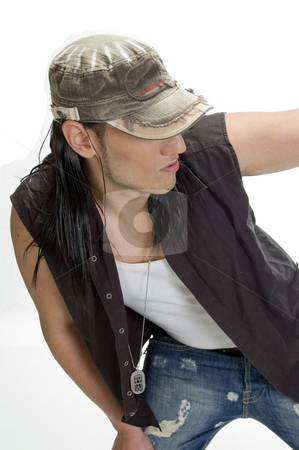 White model with cap and pendent stock photo, White model with cap and pendent by Imagery Majestic